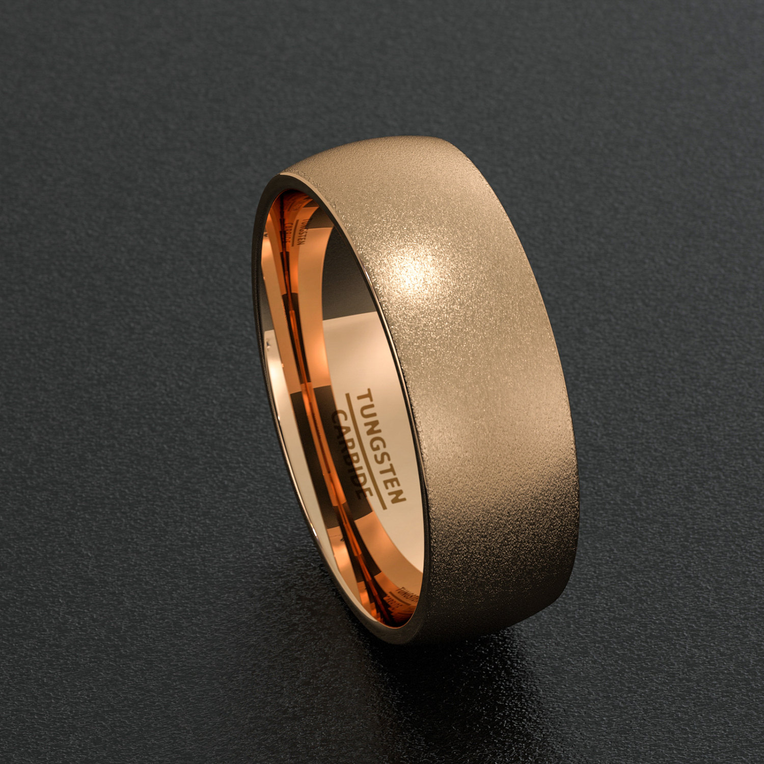 Tungsten Wedding Bands 8mm Mens Ring Rose Gold Sandblasted Dome Comfort Fit