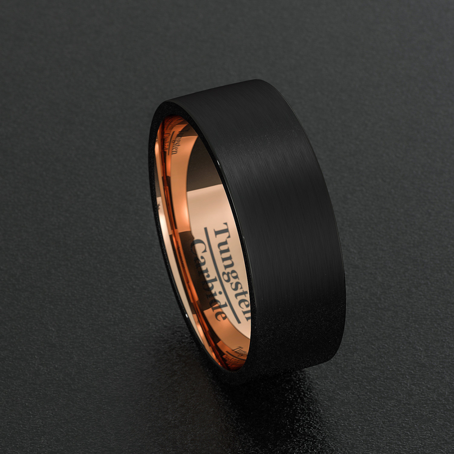 Tungsten Wedding Bands 8mm Mens Ring Black Brushed Flat Edge Rose Gold Inner