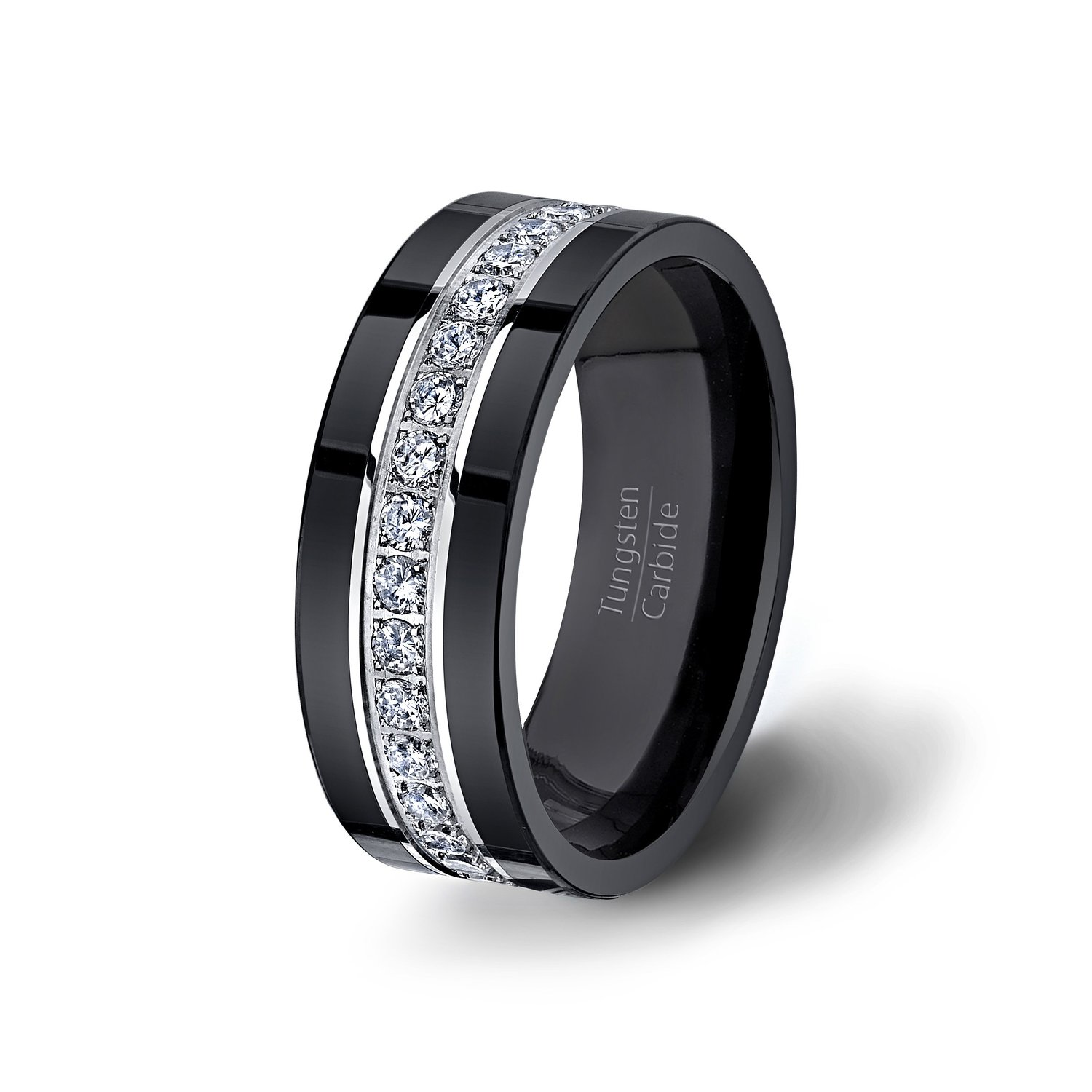 Mens Wedding Band Black Tungsten Ring Fully Stacked with fort Fit