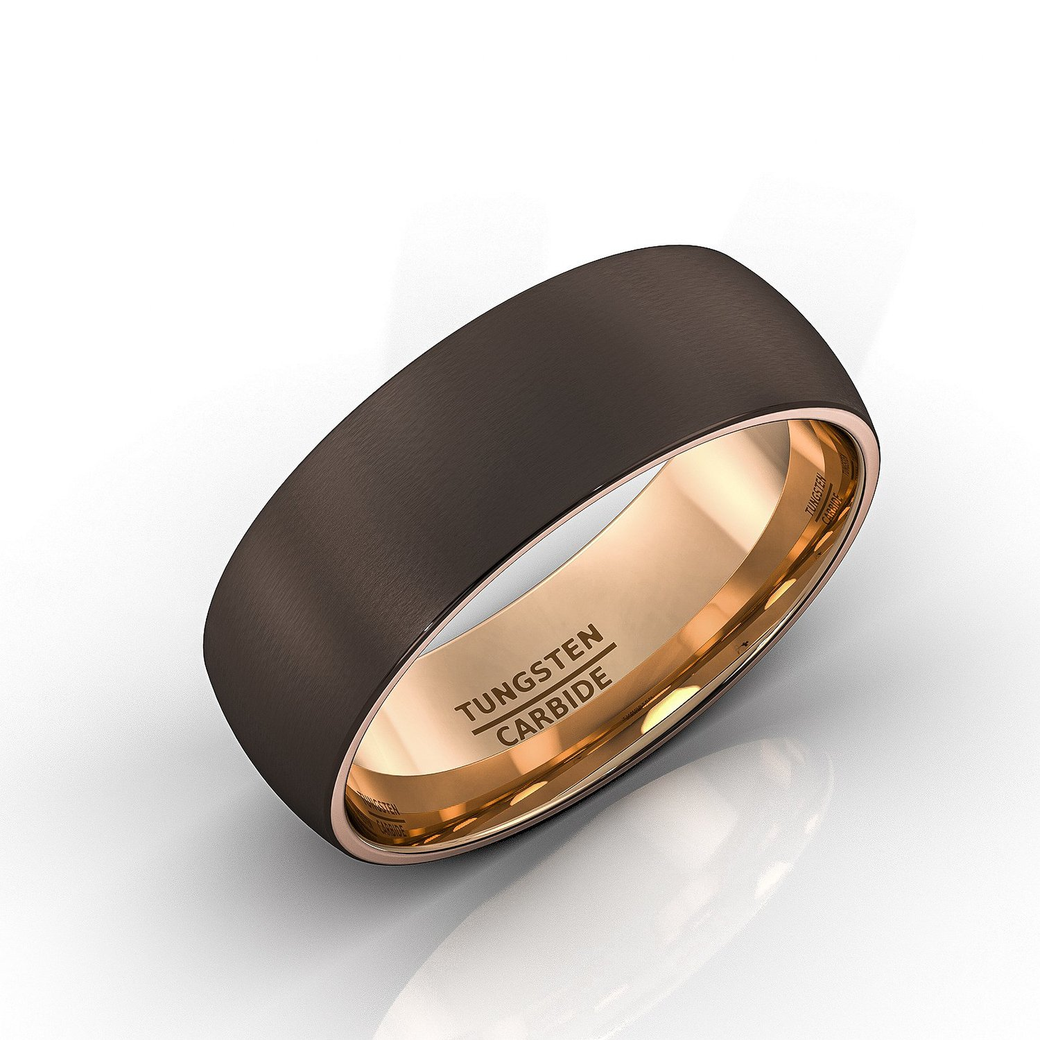 Mens Wedding Band Brown Tungsten Ring Espresso Collection Inside